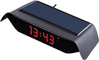 Orologio da Auto 24 Ore ad energia Solare con Batteria Integrata Accessori per Decorazioni Auto humflour Orologio da Auto Orologio Digitale Interno Autoadesivo