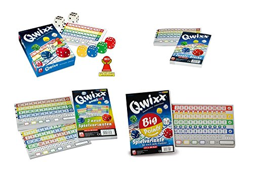 Danto QWIXX Würfelspiel-Set, mit dem Spiel QWIXX, Zusatzblöcke (2x80 Blatt), Zusatzblöcke GemiXXt (2x80 Blatt) und Zusatzblöcke Big Points (2x80 Blatt)