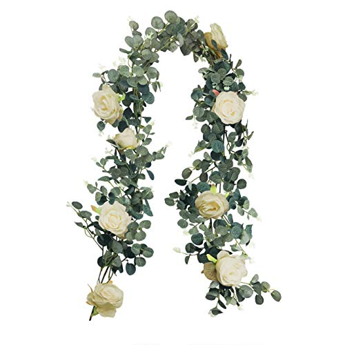 RECUTMS Artificial Eucalyptus Garland with Champagne Roses Ivy Greenery Leaf Garland Plants Vine Foliage Flowers Hanging for Wedding Party Garden Home Wall Decoration (Champagne Gold)
