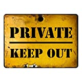 Old Rusty Retro Looking Sign. Private Keep Out. Antique Effect Sticker Ideal for a Bedroom Door. 200mm x 150mm Self Adhesive