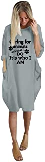 〓VigorY〓Womens Causal Loose Party Midi Dresses Tunic Dress Jumper Ladies Oversized Baggy Pocket Pullover Mini Dress