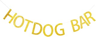 Hotdog Bar Banner, Gold Gliter Paper Sign Decors for Family/Birthday/Wedding/Engagement/Baby Shower Party