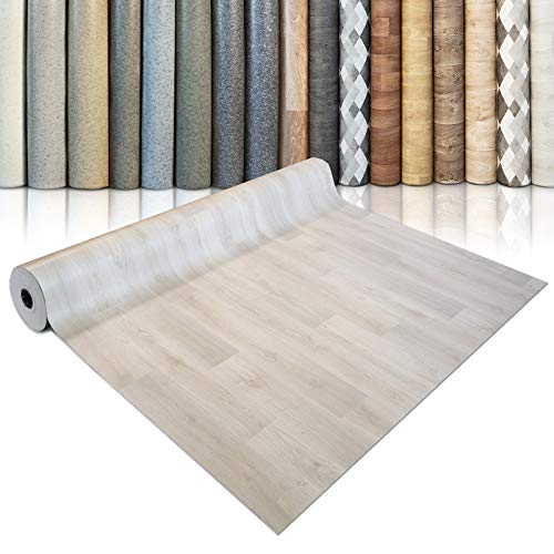 CV Bodenbelag Beech Plank - extra abriebfester PVC Bodenbelag (geschäumt) - Buche hell - edle Holzoptik - Oberfläche strukturiert - Meterware (200x300 cm)