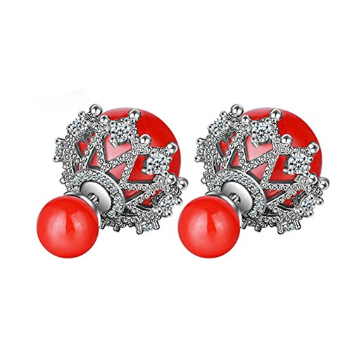 925Sterling Silber CZ bicolor Hohl Spitze Doppelseitiges Simuliert Pearl Damen-Ohrstecker, Rot