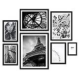 Feeby Set de 7 Láminas en Marco Negro Cuadros Decorativos Decoración Hogareña Decoración Colgante para Paredes Arquitectura Paris Tour Eiffel Blanco y Negro