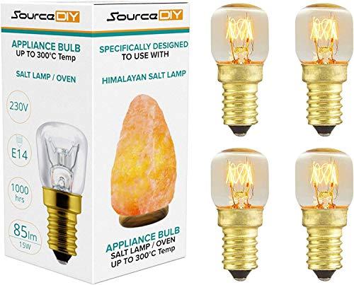 (4er Pack) Ofenglühbirne Salzlampe 15 Watt dimmbar E14 Edison-Schraube Basis 360° Abstrahlwinkel Geeignet für Kühlschrank, Leuchtmittel, Mikrowelle Hitzeverträglichkeit