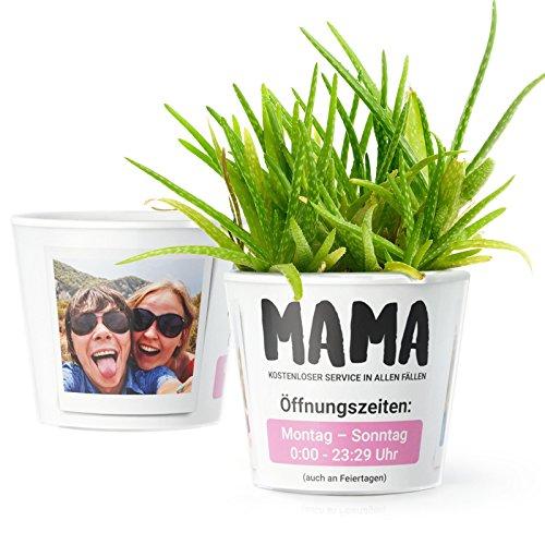Blumentopf (ø16cm) | Lustiges Geschenk für Mama zum Muttertag, Geburtstag oder Weihnachten mit Bilderrahmen für zwei Fotos (10x15cm) | Mama: kostenloser Service in allen Fällen. Öffnungszeiten.