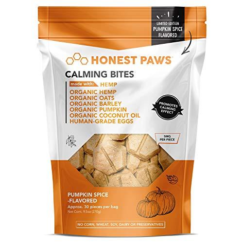 Honest Paws Calming Bites | Hemp Dog Chews | Promotes Relaxation | Safe, Organic, All-Natural Treats | Pumpkin Spice Flavor, 30 Chews