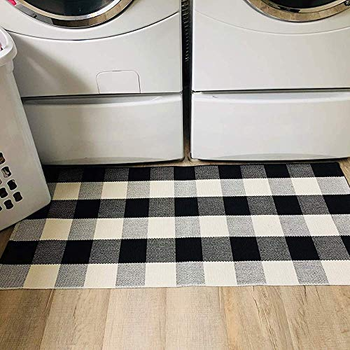 Buffalo Plaid Rug - 24'x51' Check Outdoor Door Mat - Black and White Checkered Cotton Blend Farmhouse Print Rugs for Kitchen/Front Porch/Décor/Spring Decorations - Gingham Checked Welcome Doormat