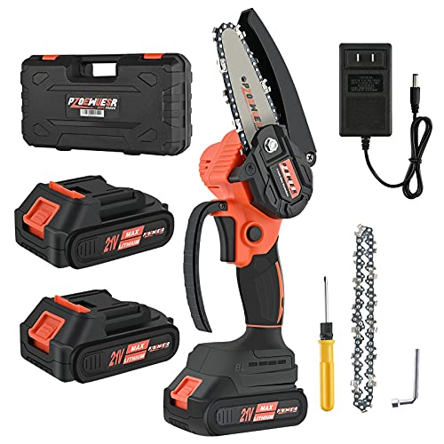 PZOEWUESR Mini Cordless Chainsaw,4 inch Battery Powered Chainsaw,One-Hand Operated Portable Electric Pruning Chain Saw for Garden Tree Trimming Branch Wood Cutting