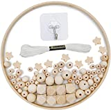 Kit marco móvil de madera para bricolaje, carillón de viento cuna de bebé, estrella cuentas madera natural artesanal, colgador de campana para cuna, decoración del hogar, regalo para niños (95 piezas)
