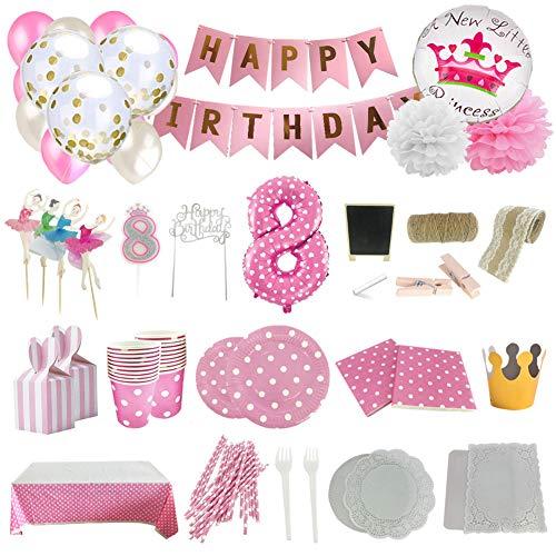 Set de Artículos Accesorios Completo para Decoración Fiestas Cumpleaños bebé Niña de 8 año Lote de 164 Piezas Sirve 16 Invitados