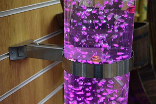 Playlearn - Tubo de burbujas de agua sensorial, en forma cuadrada o redonda, con base de acero inoxidable y cambio de color LED por remoto controlado