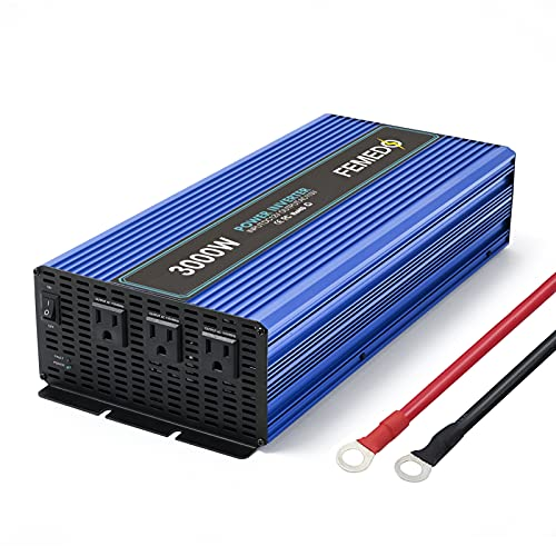 3000W Power Inverter 3000 watt Modified Sine Wave Inverter with 3 AC Outlets Converter DC 12V in to AC 110V Out for Car RV Truck(Blue)