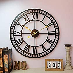 HJWL Wall Clock,60cm Black Wrought Iron Retro Roman Numeral Living Room Decorative Accessories Creative Clocks