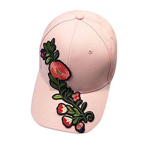 TWGONE Womens Baseball Cap Couple Applique Floral Unisex Snapback Hip Hop Flat Hat(Pink,One Size)
