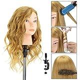 Têtes d'exercice Professionnelle Neverland 16'' 100% Cheveux Naturels Tête à Coiffer Coiffure Cosmétologie Pratique Mannequin Poupée pour le Salon Coiffeur Poupée avec Support