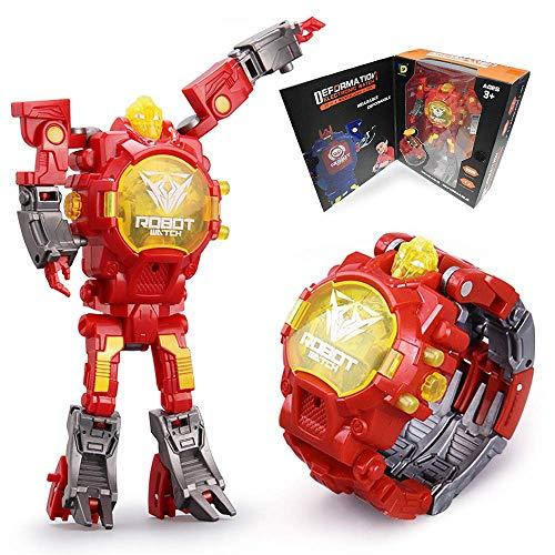 YuWei Smart Robot Toys Reloj para niños 2 en 1 Transformadores electrónicos Juguetes Reloj Robot deformado Juguetes Regalo para niños de 5 a 12 años Niños y niñas (Rojo)