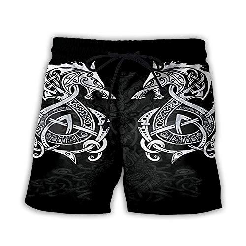 Shorts De Bain Shorts De Surf Hommes Femmes 3D Imprimé Vikings Shorts De Plage D'Été À Séchage Rapide Pantalon De Plage En Plein Air Loisirs Maillots De Bain Poche Élastique Taille Conseil Surf