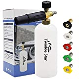 Twinkle Star Foam Cannon 1 L Bottle Snow Foam Lance with 1/4' Quick Connector, 5 Nozzle Tips for Pressure Washer