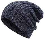 Simplicity Unisex Winter Knit Slouchy Beanie Ski Cap 2 Piece Set Black/Burgundy