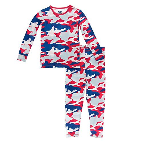 KicKee Pants Print Long Sleeve Pajama Set (Flag Red Military - 6 Years)