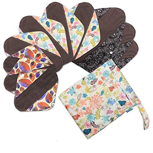 Teamoy 10 Stücke Slipeinlagen waschbar, Bambusbinden Wiederverwendbare (3 unterschiedliche Größe enthalten), Serie von Dschungels