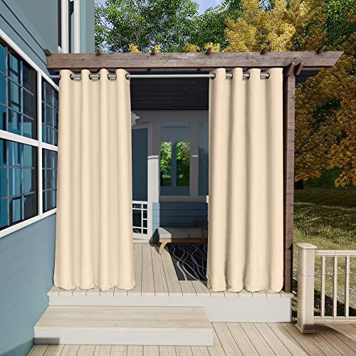 Clothink Outdoor Vorhänge Aussenvorhang Garten Verdunkelung Outdoor Gardinen 132x215cm(B x H) Beige Blickdicht Winddicht Wasserabweisend Sichtschutz Sonnenschutz UVschutz