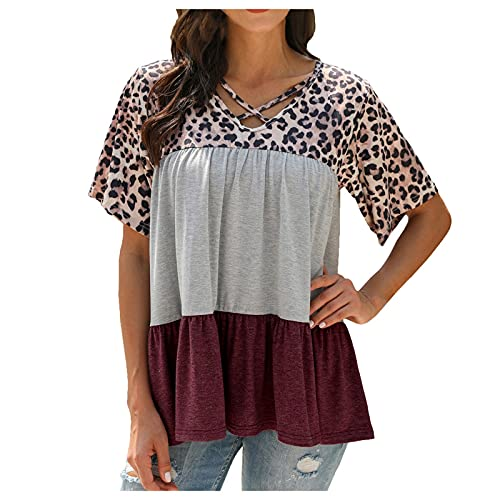 Camiseta de verano para mujer, estampado de leopardo, informal, a rayas, patchwork, correas cruzadas, top de manga corta rojo XL
