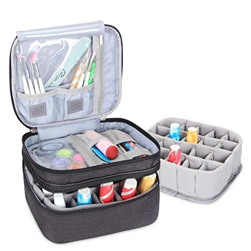 Luxja Organizador de esmaltes de uñas, esmaltes de uñas Estuche, Porta esmaltes de uñas- Sostiene 20 Botellas (15 ml - 0.5 FL.oz), Bolsa de Almacenamiento de Doble Capa para lacas y manicuras, Negro