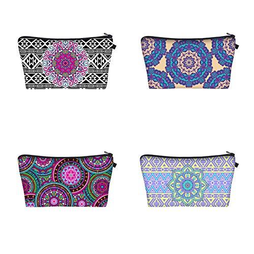 LINGS Lot de 4 Sacs de Maquillage, Trousse de Toilette avec Motifs de Fleurs Mandala pour Femmes et Filles Case (1#)