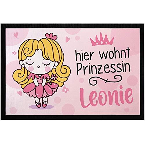 SpecialMe® Fußmatte Kinderzimmer personalisiert Hier wohnt Prinzessin + anpassbarer Name Türvorleger Mädchen rutschfest & waschbar weiß 60x40cm