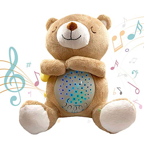 Baby Soother Sound Machine - White Noise Machine & Portable Lullaby - Plush Teddy Bear Crib Projector Night Light - Sleep Susher for Babies & Toddlers