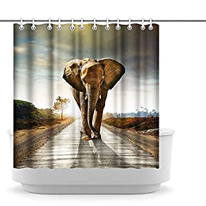 Innopics African Animal Shower Curtain Large Elephant Walk on Road Fantastic Landscape Bathroom Decoration Africa Nature Scenery Bath Curtain Set Waterproof Polyester Fabric 12 Hooks