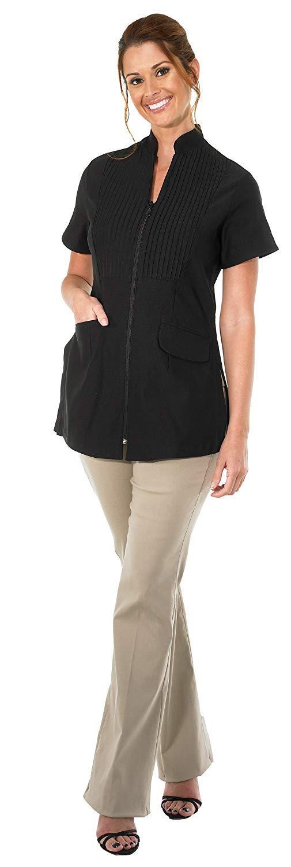 Canyon Rose Tuxedo Front Zip Salon Esthetician Jacket, Short Sleeves, Pleated Tuxedo Front, Split Mandarin Collar, Pocketed, Zip Front Closure, Nylon Spandex Stretch, Stain Resistant, Black, S