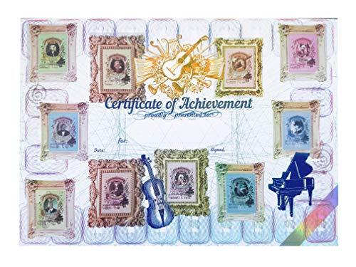 Zertifikat mit 10 Aufkleber Stickers - Klavier & Musikschule Blanko-Urkunden - Great Animal Composers