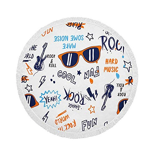 Manta de Toalla de Playa Redonda, patrón de Tema de música Rock, Esterilla de Yoga Circular Grande de Gran tamaño de 59 Inch con borlas de Flecos