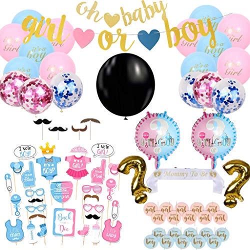 Amycute 78 Pezzi Baby Shower Decoration Kit, includere Boy or Girl Banners,Palloncini Rosa Blu,Palloncini Foil, Foto Puntelli,Palloncini coriandoli,Reveal Balloon,Cake Topper,Mamma To Be Sash