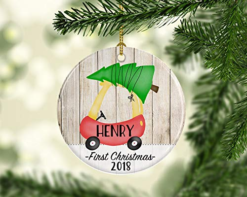 JamirtyRoy1 2018 First Christmas Ornament for Baby, Newborn Ornament with Toddler Coupe, Cute 1st Christmas Ornament for Baby, Car with Tree Ornament Keepsake Gift, 3' Christmas Ornament