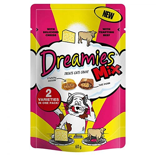 Dreamies - Snacks gatos 8 Paquetes 60g Tamao Único