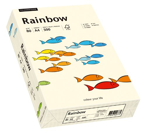 Papyrus 88042249 Drucker-/Kopierpapier bunt, Bastelpapier: Rainbow 80 g/m², A4 500 Blatt, matt, hellchamois
