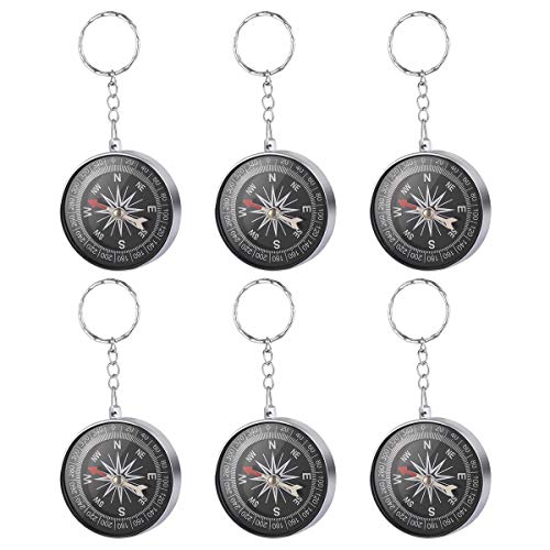 Toyvian Compass Keychain - Pack of 12, Silver Bag Pendant - Handbag Jewelry, Birthday Party Gifts for Kids