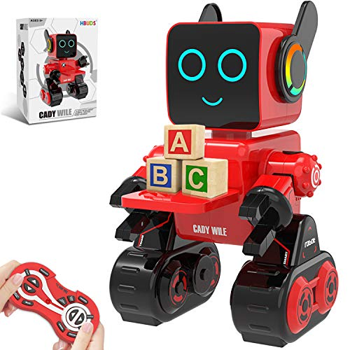 HBUDS Robots for Kids, Remote Control Robot Toy Intelligent Interactive Robot LED Light Speaks Dance Moves Built-in Coin Bank Programmable Rechargeable RC Robot Kit (Red)