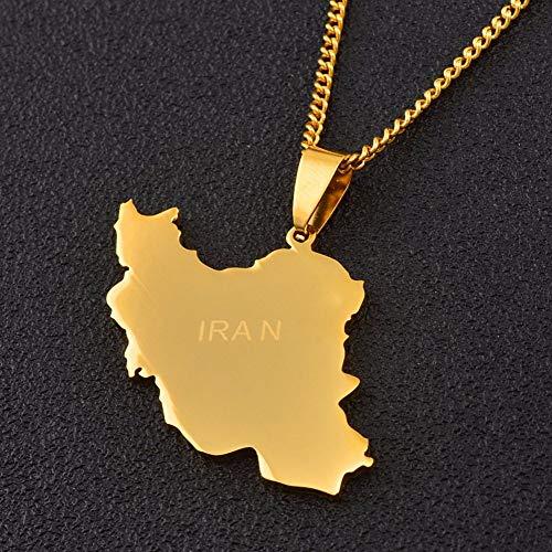 DRTWE Halskette mit Landkarten-Anhänger, Karte des Irans, Goldfarben, Kette für Männer und Frauen, Landhausstil-Anhänger, Halskette, Charm, Schmuck, Geschenk für Mädchen...