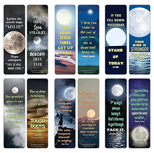 Creanoso Moon Light Be Strong Quotes Bookmarks (12-Pack) – Awesome Bookmarks for Bookworm, Bibliophiles – Unique Book Reading Page Binders – Stocking Stuffers Gifts Rewards Token Ideas