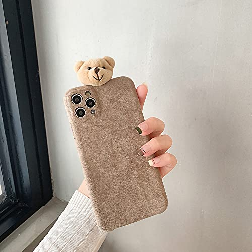 Funda de teléfono Suave de muñeco de Oso de Peluche de Dibujos Animados de Invierno para iPhone 12 Pro MAX 11 Mini X XR XS 7 8 Plus SE 2020 Funda Bonita, marrón, para iPhone XR
