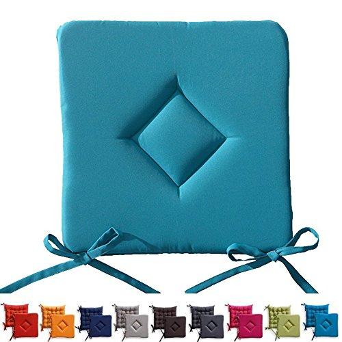 TODAY weichstuhlkissen rembourré avec Fixation Lacets – 3,5 cm Épaisseur du Coussin – 40 x 40 cm – Turquoise
