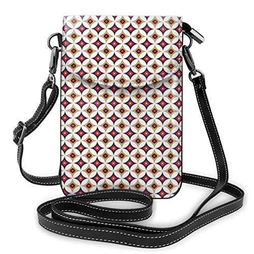 Jiger Women Small Cell Phone Purse Crossbody,Balinese Ethnic Retro Mosaic Pattern With Circles And Squares