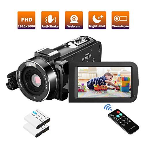 Videokamera Camcorder FHD 36MP IR-Nachtsicht 1080P Digitalkamera für YouTube mit Pausenfunktion Drehbarer 3,0-Zoll-Touchscreen mit Fernbedienung