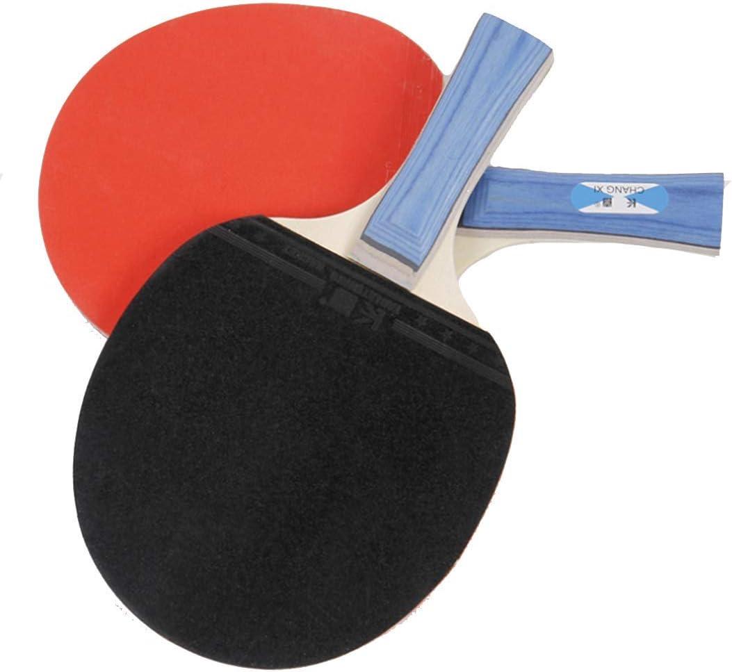 KUANDARPP Ping Pong Pala De Ping Pong para 2 Raqueta Y 3 Pelotas De Tenis De Mesa para El Juego En Casa, El Colegio, En Exteriores O De Viaje Talla única, Red